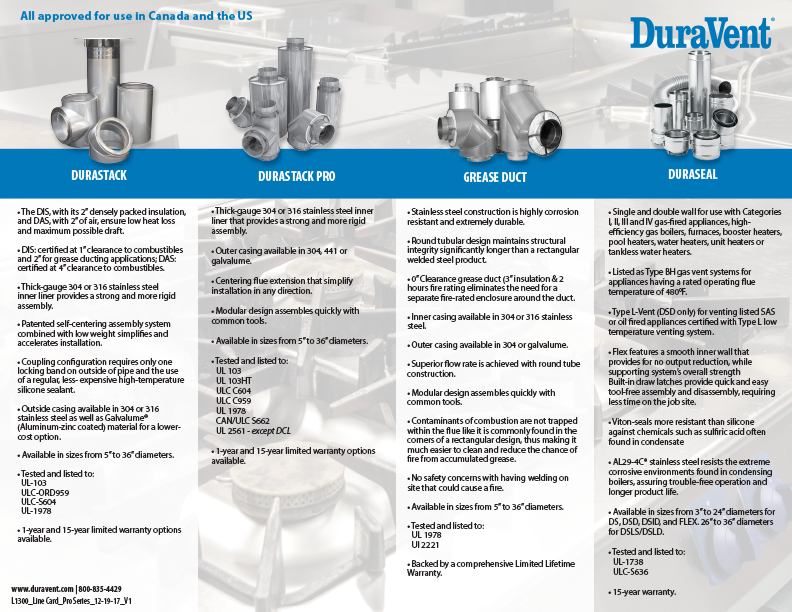 DuraVent Commercial Line Card